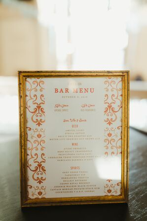 Gold-Framed Bar Menu with Orange Detailing