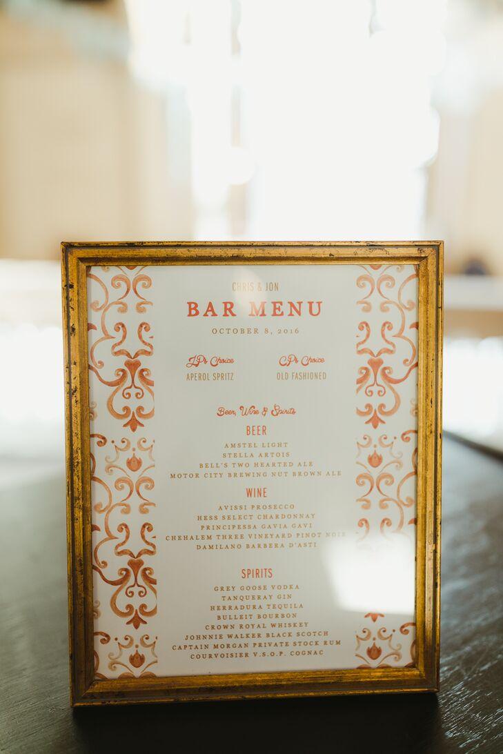 Gold-Framed Bar Menu with Orange Detailing