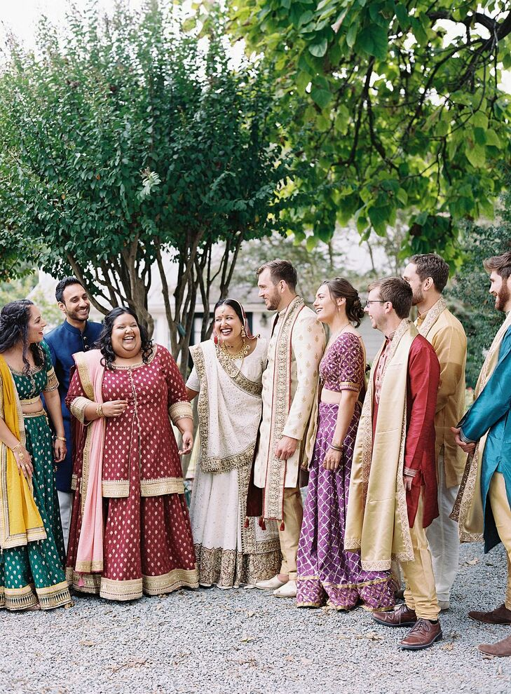 Wedding Party in Traditional Indian Attire at The Clifton Inn in Charlottesville, Virginia