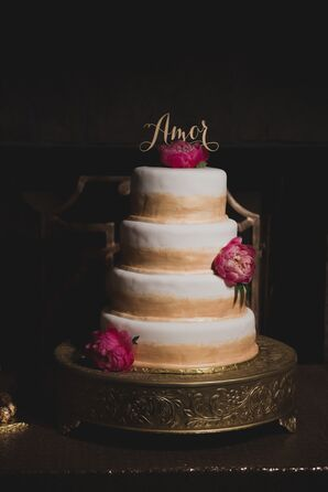 Gold and White Icing Cake