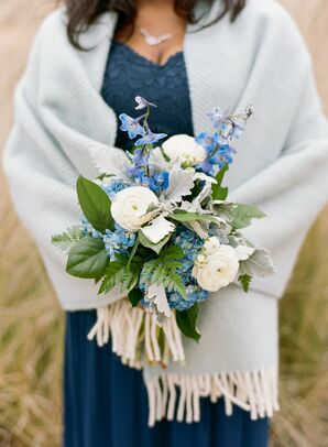 Blue-and-White Bridesmaid Bouquet at Wedding in Raleigh, North Carolina