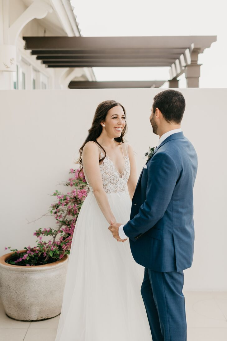 Bride in Romantic A-Line Gown with Sheer Lace Top