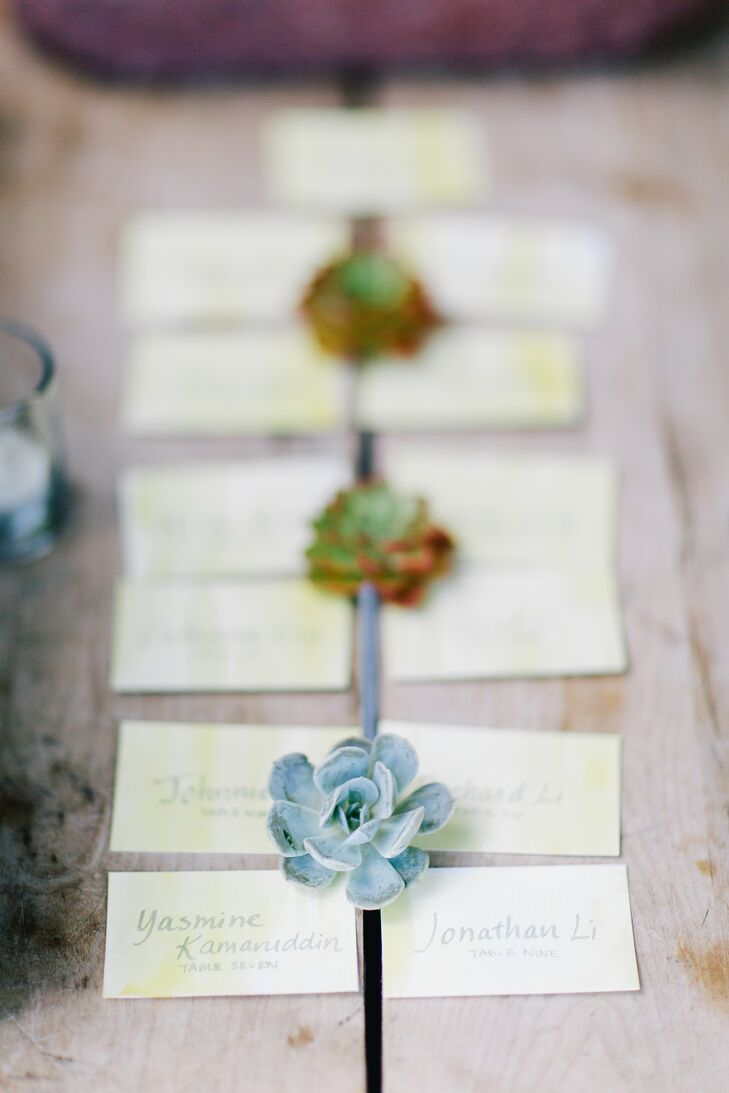 The rustic escort card display included a single succulent surrounded by four moss-colored cards.