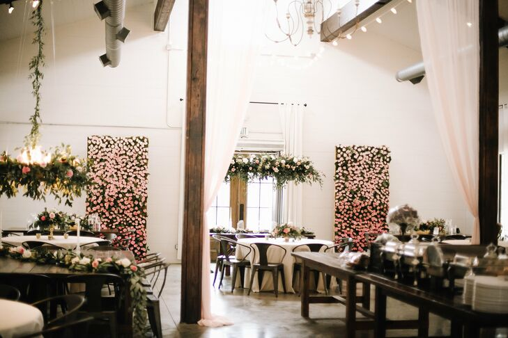 Indoor Reception with Pink Rose Flower Wall