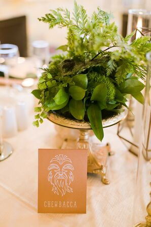 Fern and Moss Centerpieces in Gold Vases