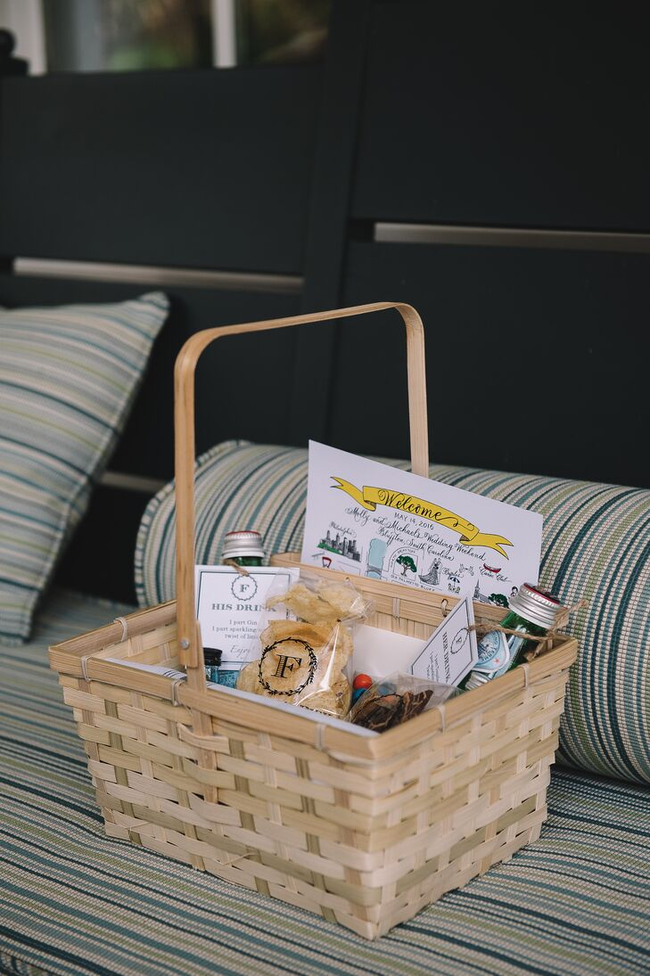 """Our welcome baskets were very personal,"" Molly says. Most of her and Michael's guests were coming from Philadelphia for the South Carolina wedding. ""We had maps created of Palmetto Bluff by an artist and then put personal details on them,"" she says. ""On the back was the itinerary for the weekend."""