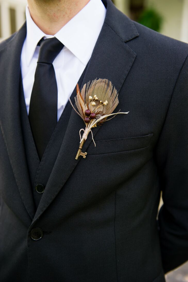 Rustic Key Boutonniere with Feather