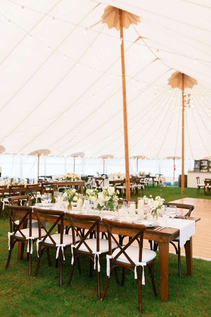 Tented Reception with Crossback Chairs on Martha's Vineyard