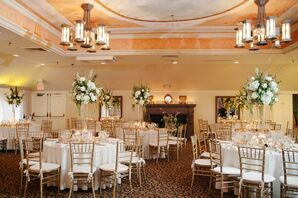 White Tables and Gold Chiavari Chairs