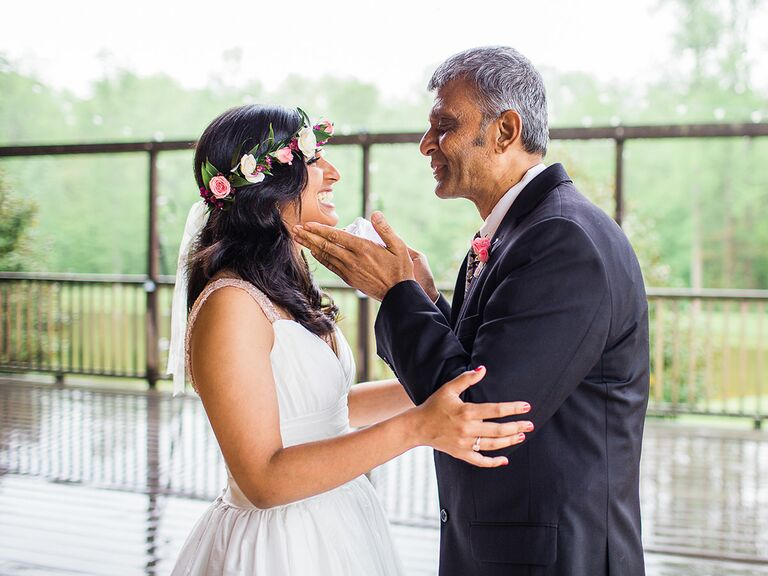 Father-daughter wedding first look