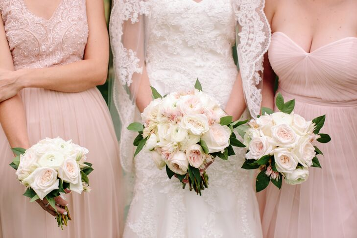 Pale Blush Rose And Ranunculus Bouquets