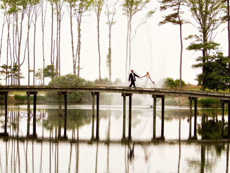 Bride and groom couple's shot on bridge