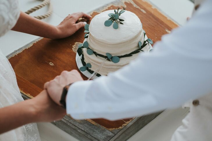 Bohemian Round, Tiered Cake Topped with Eucalyptus
