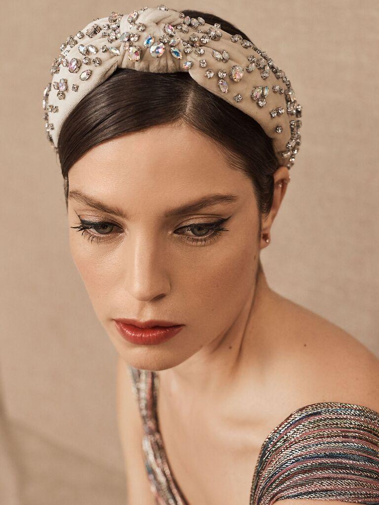 Crystal embellished knotted headband
