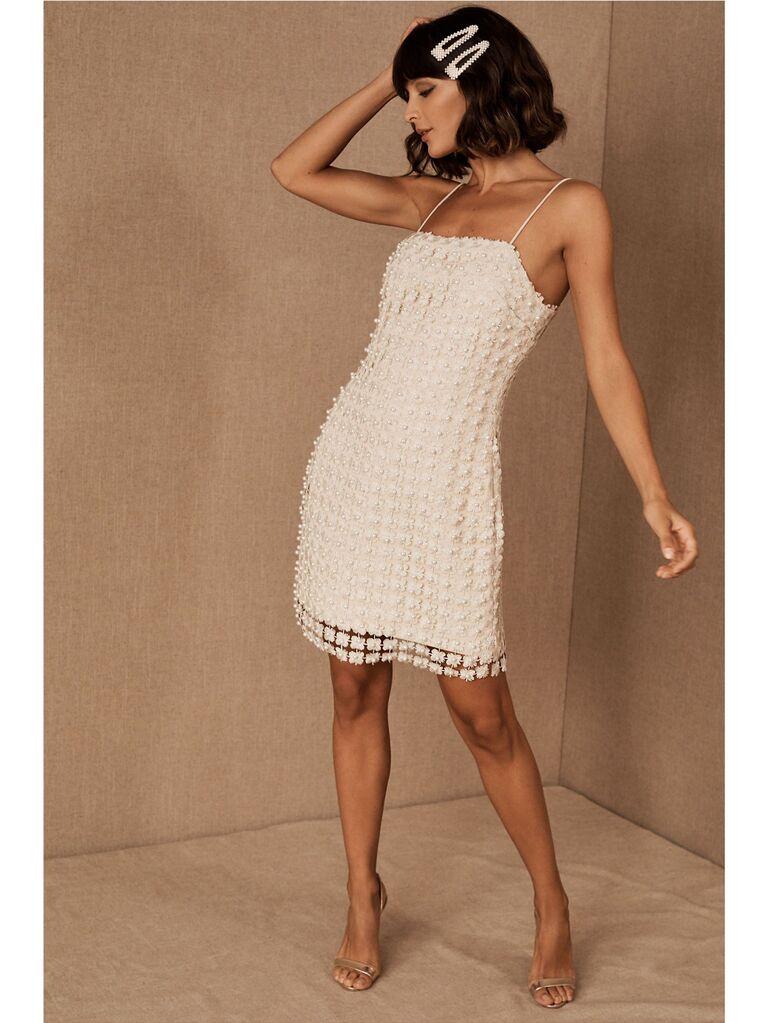 White pearl embellished mini dress