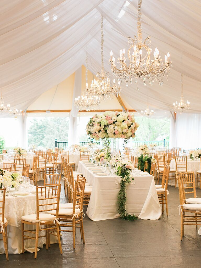 Elegant Outdoor Wedding Tent With Chandeliers