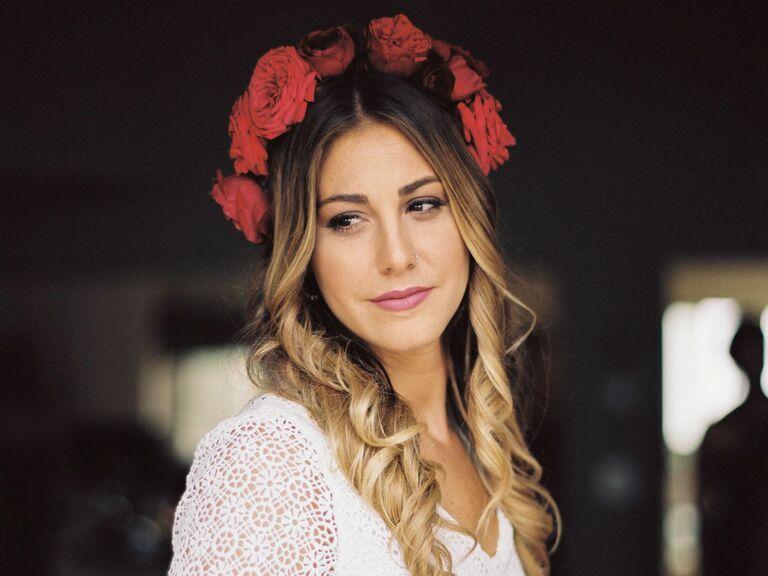Red Garden Rose Flower Crown - bridal crowns