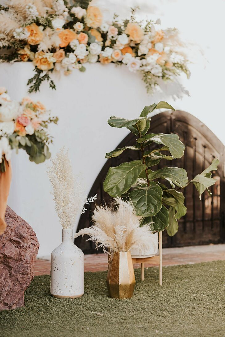Flower Arrangements and Pampas Grasses in Bohemian Vases