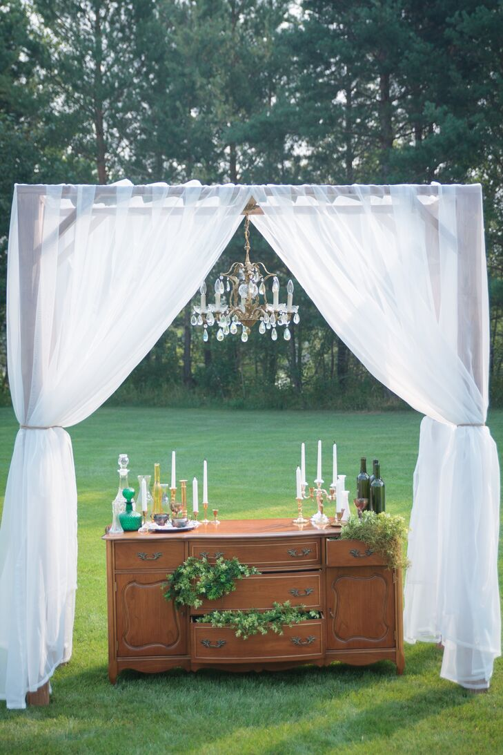 Antique Chest and White Drapes Ceremony Decor