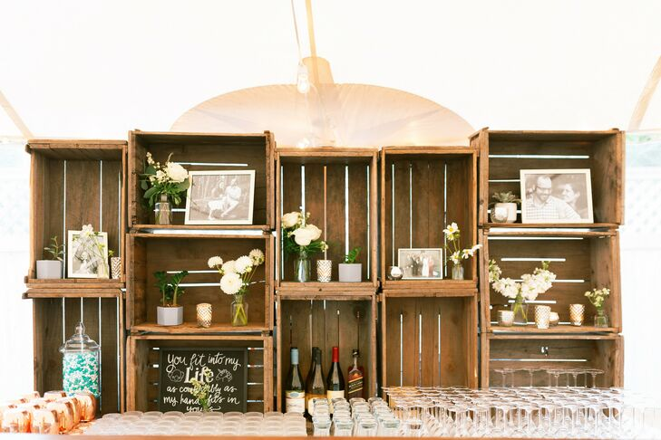 Wood Crates and Pictures for Decor at Martha's Vineyard Wedding