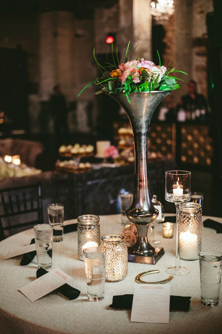 Tall Silver Centerpiece Vase