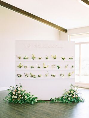 Pharmacy-Inspired Escort Card Display at Dove Ridge Vineyard in Weatherford, Texas