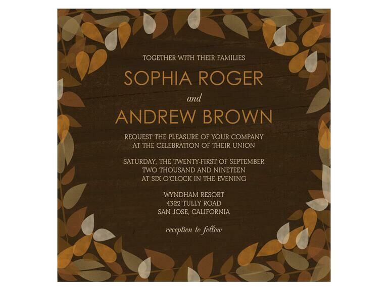 Orange and brown leaves fall wedding invite