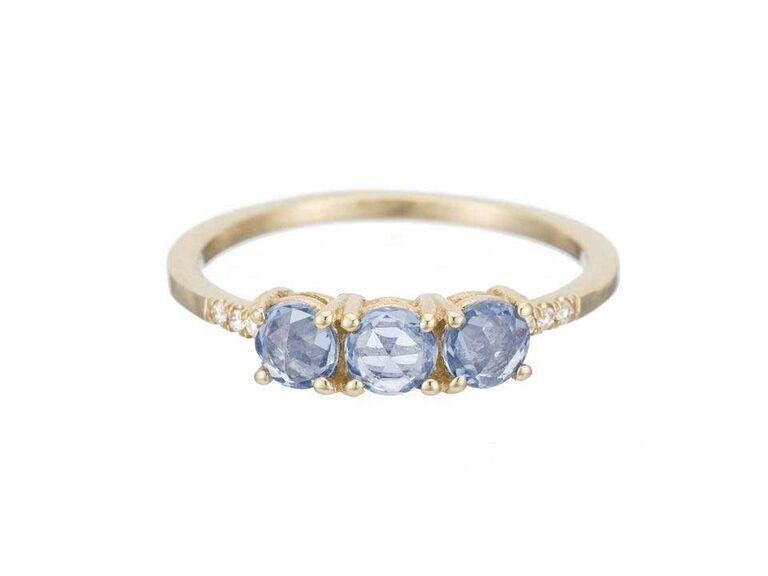 Three-stone blue sapphire engagement ring