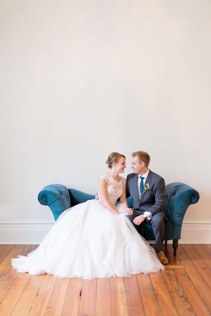 "Miriam looked flawless in a champagne ball gown with a lace bodice, cap sleeves and crystal accents. ""The shape fit my body type, and the skirt was so much fun to dance in,"" she says."
