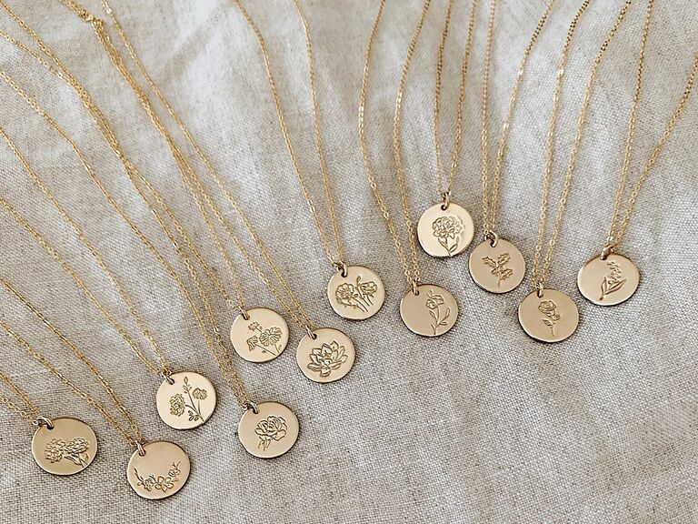 Birth flower necklaces for every month fourth anniversary gift idea