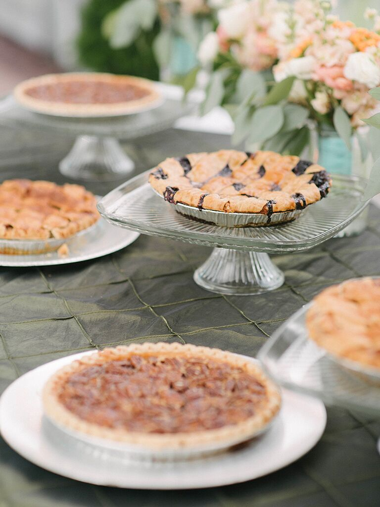 Southern wedding food dessert option with pecan, bluberry and apple pies