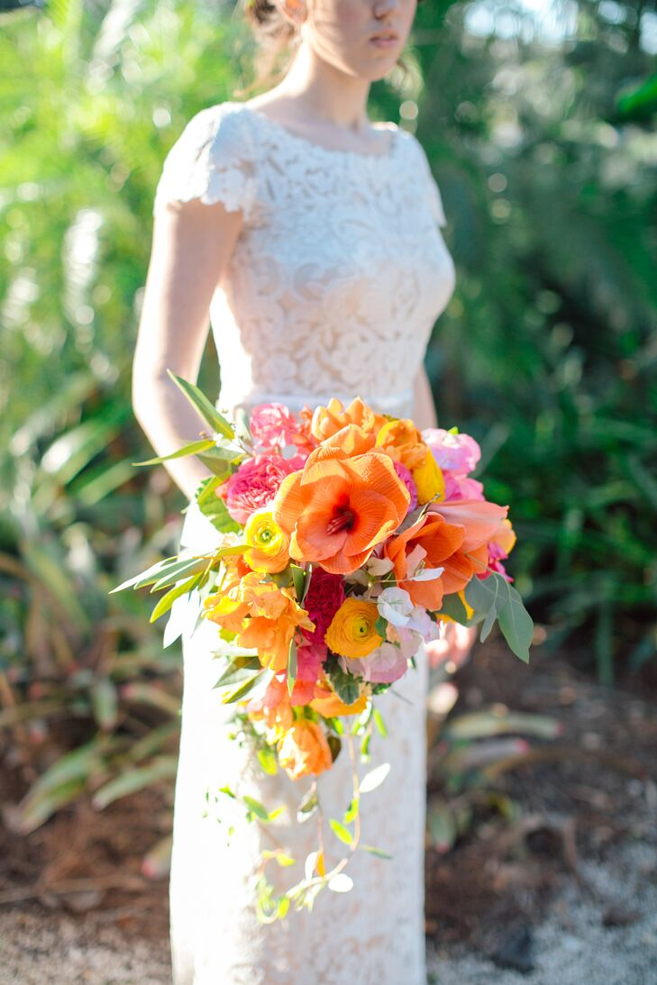 Vibrant Cascading Ranunculus and Lily Bouquet