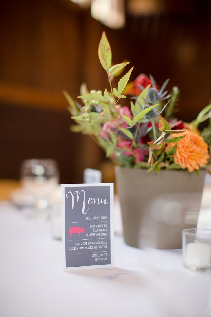 A centrally located menu card informed guests of every course. The seated meal featured a selection comfort food favorites including pork spare ribs or beef brisket and autumn go-tos like roasted squash and red potatoes.
