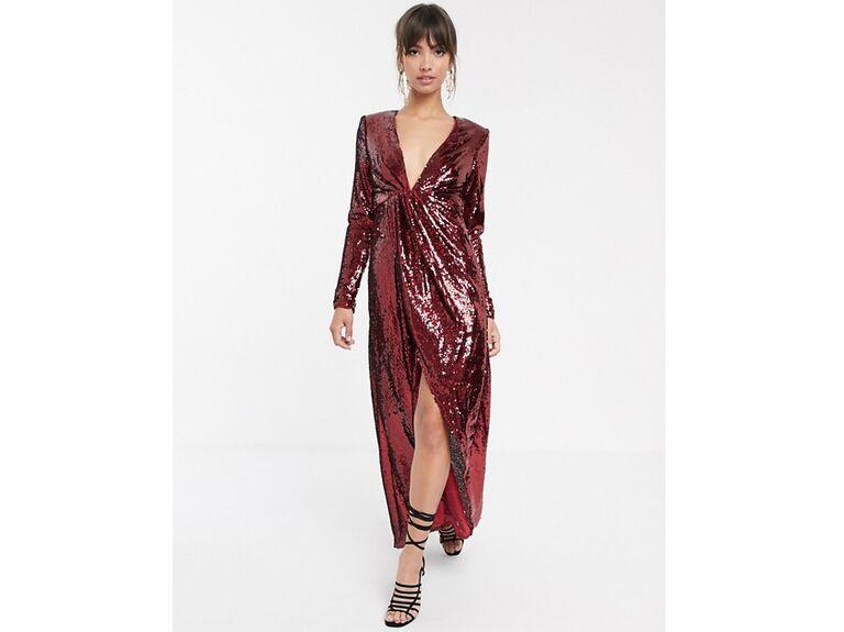 Red sequin winter wedding guest dress