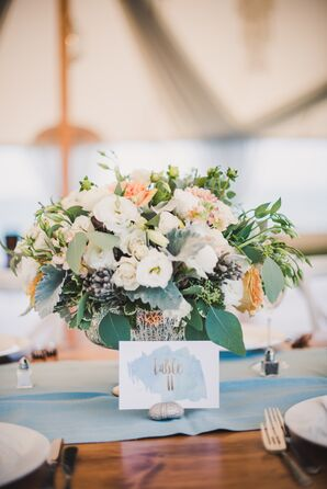 Modern Watercolor Table Numbers with Seashell Holder