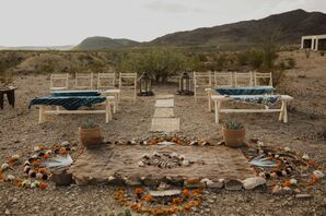 Natural Desert Ceremony with Bohemian Decorations at Willow House in Terlingua, Texas