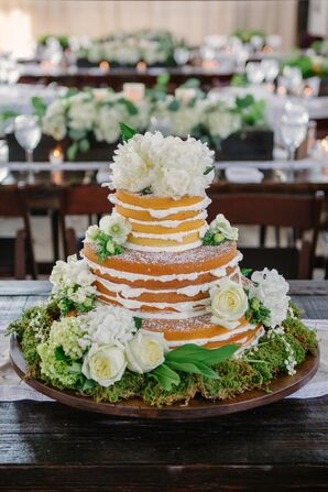 Vanilla Naked Cake with Roses and Moss