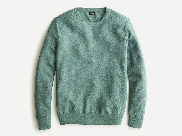 Jade green cotton crew-neck sweater