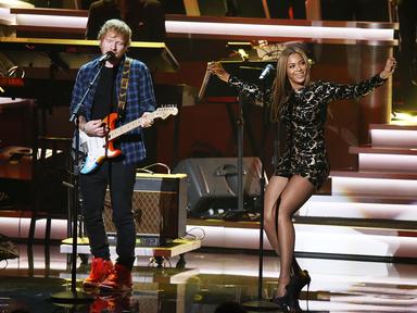 Ed Sheeran and Beyoncé performing onstage