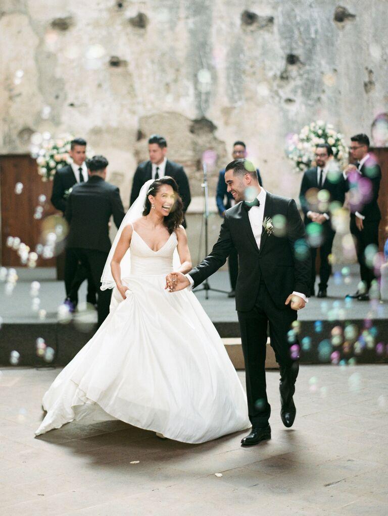 Bubble wedding exit idea