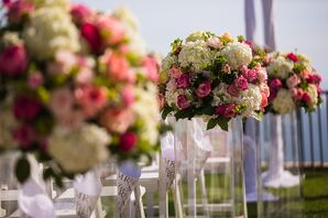 White Hydrangea and Pink Rose Aisle Arrangements
