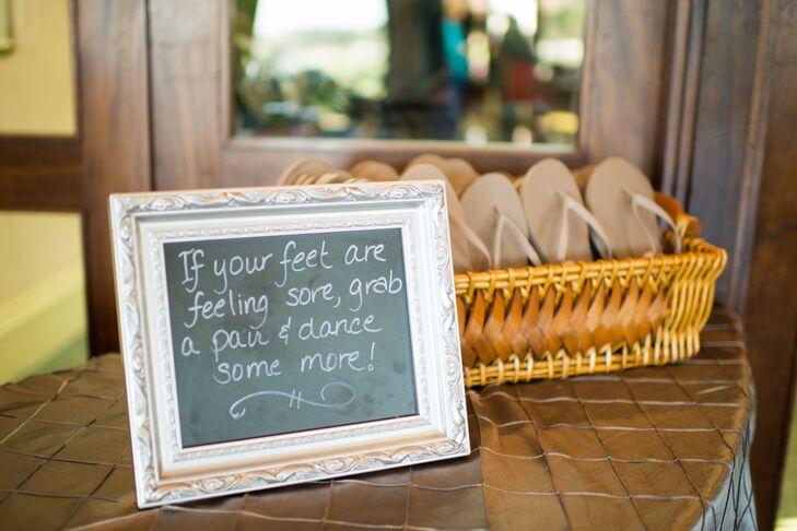 Flip-Flop Wedding Favors and Chalkboard Sign