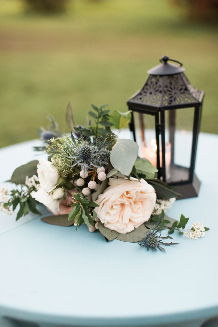 Thistle, Garden Rose and Eucalyptus Cocktail Table Centerpieces