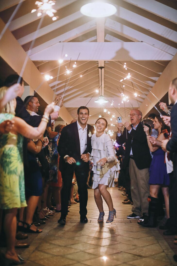 Bride and Groom Sparkler Exit at Ocean Reef Club in Key Largo, Florida