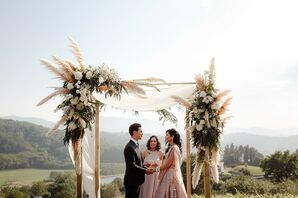 Wedding Ceremony Arch with Pampas Grass in San Sebastian, Spain