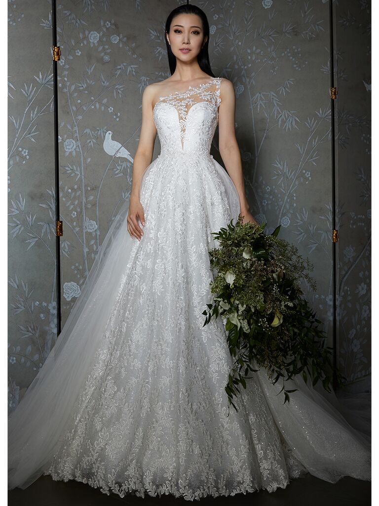 Legends by Romona Keveza wedding dress one-shoulder lace ball gown
