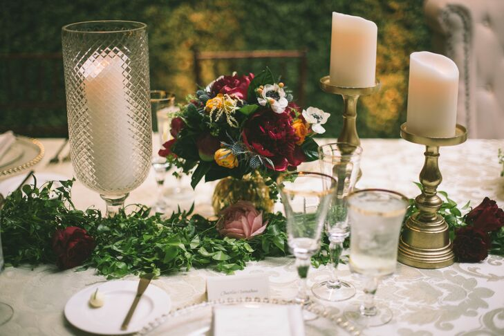 Burgundy Peony and Gold Candlestick Centerpieces
