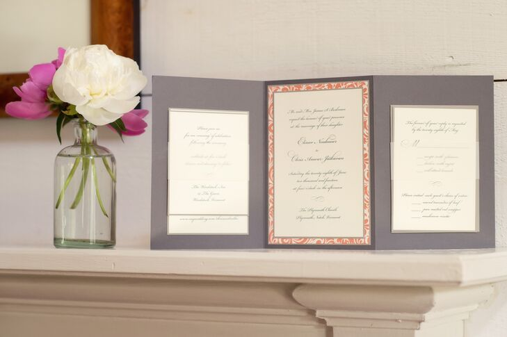 Gray Trifold Custom Wedding Invitations