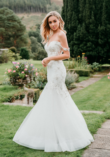 off-the-shoulder fit and flare wedding dress