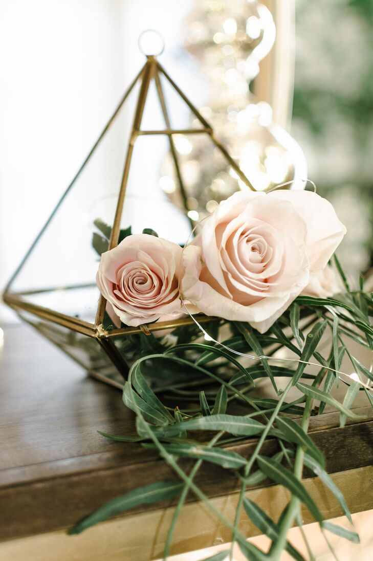 Gold Geometric Terrarium with Blush Roses